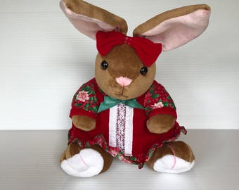 VELVETEEN RABBIT Stuffed Animal, Vintage Stuffed Plush Christmas Toy, Christmas Velveteen Rabbit, Brown Plush Rabbit, Christmas Rabbit