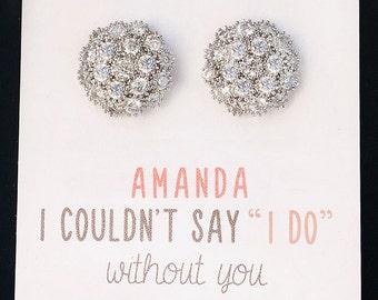 Silver Stud Earrings, Bridal Party Jewelry Earrings, Stud Bridesmaid Earrings, Maid of Honor Gifts, Bridal Party Gift, Crystal Earrings E326