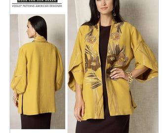 V1493 Misses Womens Plus Tulip Banded-Sleeve Kimono Jacket ZZ(Large-XLarge-XXLarge) Vogue Koos Van Den Akker Couture