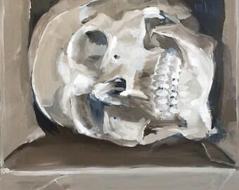 Human skull in a cardboard box, original oil painting trompe l'oeil on panel 20x30cm