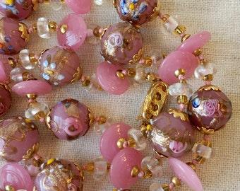 Vintage Murano Glass Necklace, Venetian Glass, Wedding Cake, Pink, Aventurine, KC084