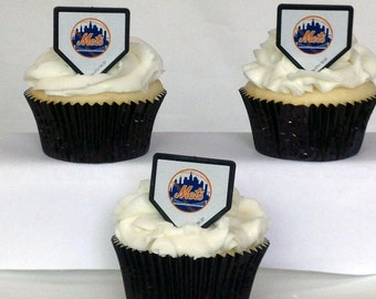 12 New York Mets Cupcake Rings MLB Baseball Toppers Party Favors