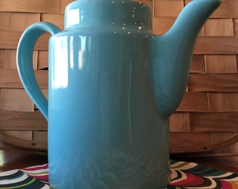 Hall China tea pot light teal marked Hall 53 1/2 made in USA 1970s