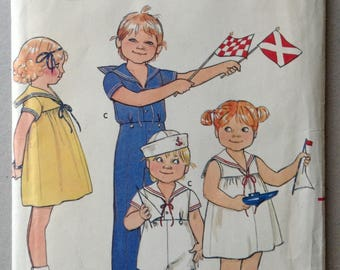 Vintage Butterick Sewing Pattern 4246, Children's Sailor Dress, Top, Pants and Shorts