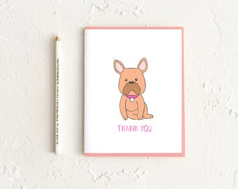 Thank You Card, French Bulldog Card, Thank You Cards Set, Thank You Notes, Stationery Set, Thank You, Dog Cards, Boxed Card Set