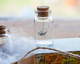 Origami Bird Book Page - Miniature Origami Crane in Glass Bottle - Recycled Book Pages - Gift for Friend - Wedding Favours - Origami Bird
