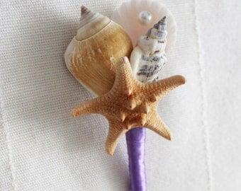 """Shell Boutonniere  """" Starfish"""",Purple Wedding, Wedding Sea Shell"""