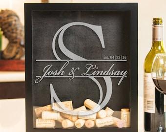 Shadow Box, Wine Cork Holder, Unity Sand Box, Alternative Wedding Guest Book Holder, Wooden Cork Box, Engagement Gift, Wine Wedding Gift