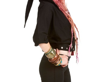 STEAMPUNK PIXIE TOP, batwing pixie hood top, psy trance clothing, bat wing festival crop top, hippy hippie jacket, plus size xl gothic top