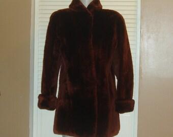 Vintage Brown Sheared Lamb Mouton Fur Coat~M~