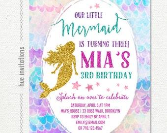 mermaid birthday invitation, under the sea girls 3rd birthday party invitation little mermaid, gold glitter pink purple teal watercolor star