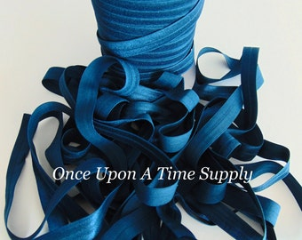 Indigo Blue Fold Over Elastic for Baby Headbands - 5 Yards of 5/8 inch FOE - Craft Embellishment - Solid Color Colour Elastic By The Yard