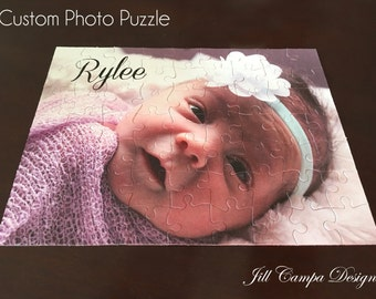 Personalized Photo Puzzle with TEXT - custom photo puzzle - custom picture puzzle - your photo on a jigsaw puzzle - personal puzzle