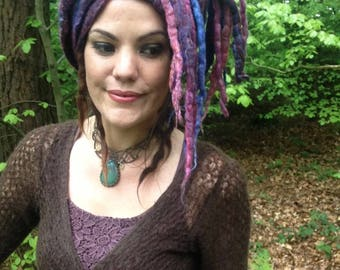 The 'Lilamuse' Dread Wrap, Mermaid Hippy Headscarf, Felted Dread Turban in Dreamy Hues, Uniquely Handcrafted Art to Wear