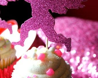 Valentine Glitter Cupcake Topper/Cupid Glitter cupcake topper/Valentine's/Cupid/Galentine's party/Galentine's/cupcake topper