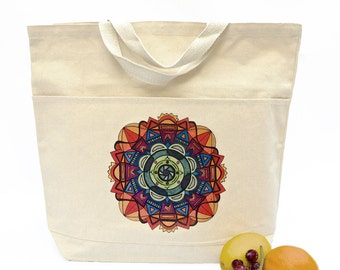 Canvas Tote Bag, Canvas Tote Bag with Pocket, Grocery Bag, Grocery Tote