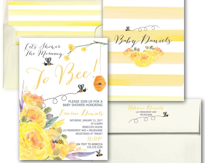 Bee Baby Shower Invitation // Yellow Baby Shower Invitation // Stripes // Floral // Bees // Black // Watercolor // MELBOURNE COLLECTION