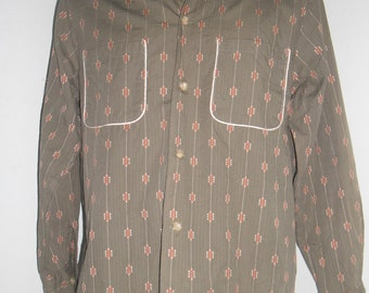 50's Dry Bones  Work Cotton Shirt long Sleeves, Pattern Lines with small embroidery white & orange , Size 40L , Near a Mint Condition