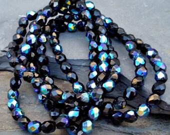 6mm Jet Black Aurora Borealis Beads Round Czech Glass CZ-322,aurora borealis bead,6mm black glass bead,6mm black ab beads,black glass beads