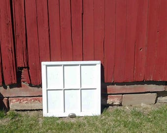 Vintage 6 Pane Window Frame,No Glass,Wood Inserts Were Glass Was, Antique, Home Decor,Wedding Decor,Crafts