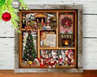 Mantel Decor - Christmas Gift - Secret Santa Gift - Christmas Shadowbox Art Print - Wall Art - Christmas Decoration -