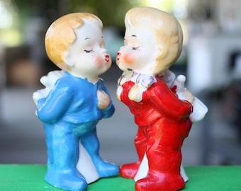 REDUCED Vintage Christmas Kissing PJ Kids Ceramic Salt Pepper Shakers Japan 1950s Figurines Decorations Collectibles