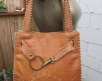 Caramel Leather Bag Whole Grain Purse Handbag Carry All Tote Vintage 1980s 80s Whipstitch Western Cowboy Cowgirl Southwest Vintage 90s 1990s