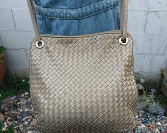 Vintage 1980s Woven Leather Crossbody Bag Ganson Black Leather Purse Handbag Tote 80s Metallic Bronze