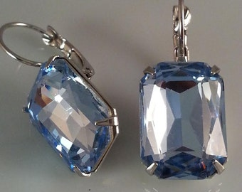 Blue Topaz Crystal Earrings - Blue Earrings - Lt Blue Earrings - Classic Earrings - Dawn Santucci - Metal di Muse