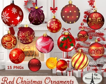 10 Printable Christmas Ornaments, Red, Ornament, Clipart, Christmas, Scrapbooking, Realistic, Christmas, Ornament, Clipart, Holiday Clip Art