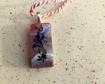 Fused Glass Pendant with Floral Design