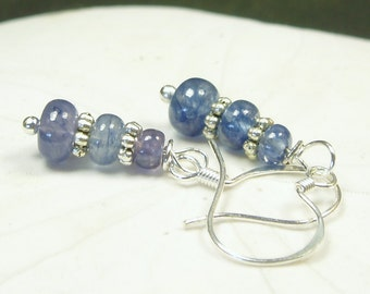 Genuine High Quality Blue Sapphire Earrings/Large Natural Sapphire Dangle Earrings/ Sterling Silver/ Sapphire/ September Birthstone