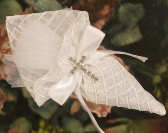 Cone Favor bag  with rhinestone pin cross, Wedding Favors Bomboniere, First Communion favors, handmade italian favors, Baptism favors