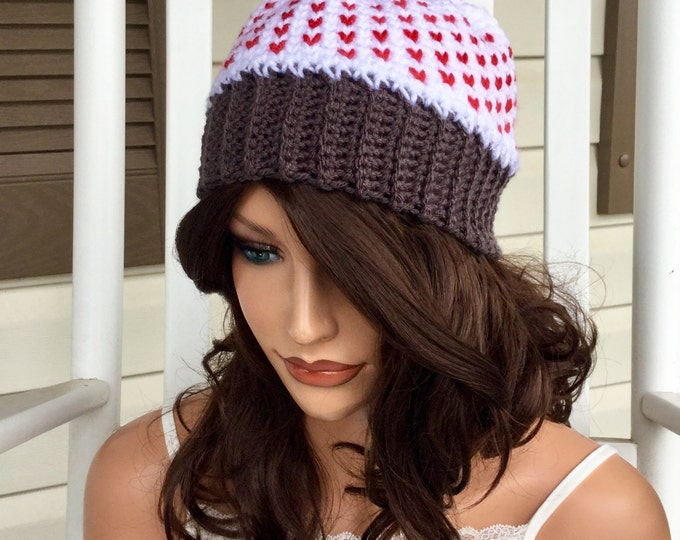 Red Hearts Crochet Beanie with Pom Pom, Red and White Hat, Winter Hat with Red Hearts, Warm Hat for Valentine's Day