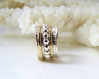 Meditation Ring, Argentium Silver Ring, Fine Silver, Celtic Ring, Thumb Ring, 14K Gold Ring, Wedding Ring, Meditation Ring, Two Tone Ring