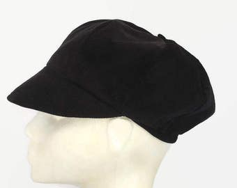 News Boy Hat, Black, Bakers Boy Hat, Small, Needlecord, Newsboy Hat, Poor boy Hat, Winter, Autumn, Spring, Mothers Day, Gifts for  Her