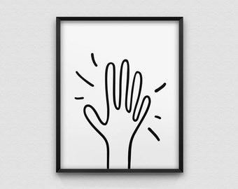 high five print // hand illustration print // positive home decor print // high five // all is well print