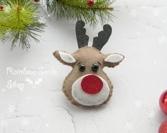 Felt Christmas Ornaments  Felt Reindeers Ornaments  Rudolph the red nose reindeer Merry Christmas  tree decor christmas favor idea