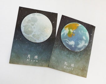 Planet Sticky Notes // Space Stationery • Lunar • Moon Memo Pad • Organiser Planner • Earth • Kawaii • Zodiac • Bullet Journal • Astronomy