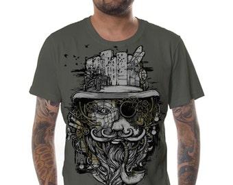 Mens T-shirt, Psychedelic T-Shirt,Printed Shirt,Burning Man Psy Tance, Goa Tribal Shirt,Cotton Shirt,Spirit T-Shirt, Festival Clothing,Gift