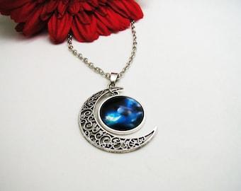 Galaxy Moon Necklace - Space Necklace - Blue Nebula Necklace - Boho Crystal Necklace - Moon Necklace - Moon Galaxy Necklace - Moon Galaxy