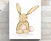 Bunny Print on Canvas from original watercolor painting - Rabbit Print - Wrapped Canvas Print