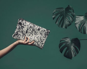 Cowhide Clutch - Salt and Pepper | Unique Hair on Hide Purse | Black and White