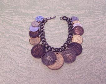 Vintage 1950s foreign coins souvenir travel charm bracelet Elizabeth Regina England Cyprus South Africa