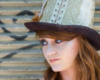 Gold top hat, crochet top hat, steampunk top hat, cabaret vintage hat, victorian top hat, festival delicate hat custom hat, handmade top hat