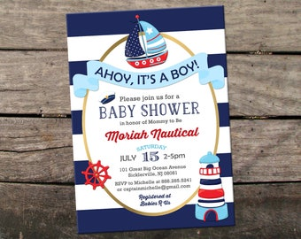 10% OFF Printed or Digital Nautical Baby Shower Invitation Ahoy It's A Boy Baby Shower Invitation Sailor Baby Shower Invitation