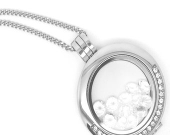 Family necklace - 25mm with stone - Chain of your choice 18 '' or 30 ''  - Figurines and birthstones to include inside
