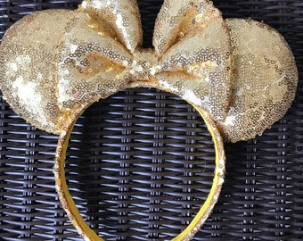 Gold Full Sequin Minnie Mouse Ears