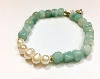 Womens Aqua Amazonite Bracelet Pearl Bracelet Gift for Mom Gift for Daughter Gift for Teen Girl Freshwater Pearl Handmade Gift Under 25