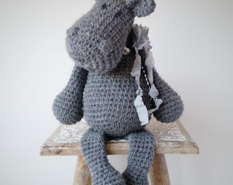 Moomin the Hippo-Crochet Toy-Knitted Toy-Soft Toy-Toy Hippo-Mumin Toy-Stuffed Animal-Natural Toy-Christmas Gift-Baby Gift-Birthday Gift